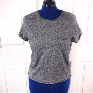 Madewell L grey cropped Short sleeve stretch top